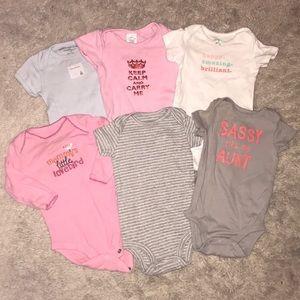 Lot of six baby girl onesies